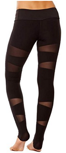 PRJON Form Fitting Leggings with Mesh Vector Panels Black, back